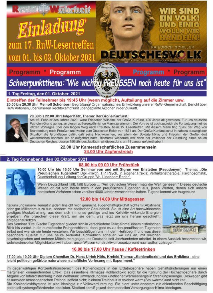 17.RuW Lesertreffen.02.bis 04.Oktober2021